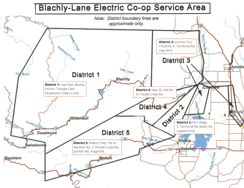 Map of Blachly-Lane service area districts
