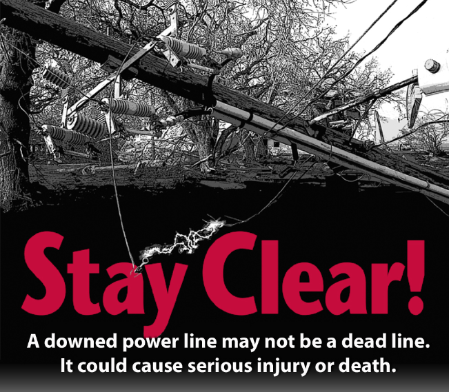 Stay Clear - A downed power line may not be a dead line. It could cause serious injury or death.