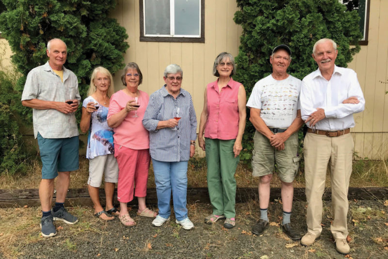 """Some of the people who worked on """"Neighbors, Friends & Family."""" From left, David Turner, Beverly Mattheisen, Gerry Butler, Linda VanOrden, Maryrae Thomson, Joe McFadden, and Conrad Pfeiffer. Photo Courtesy of David Turner"""